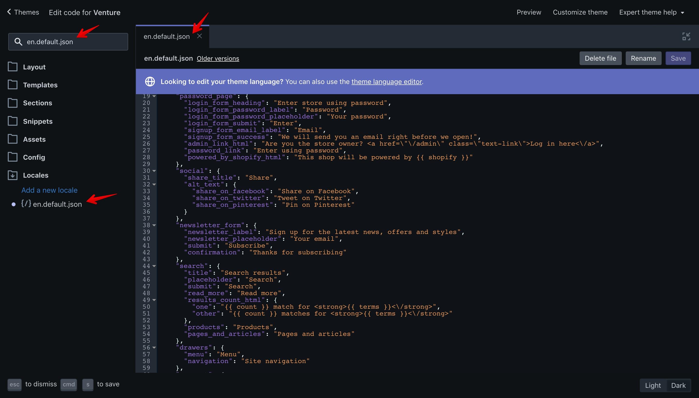 "Venture theme ""en.default.json"" file opened in the code editor."