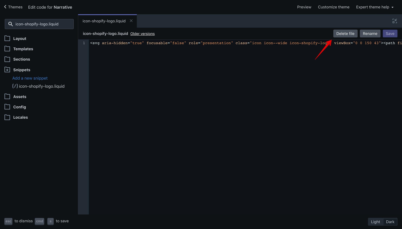 """Narrative theme """"Delete file"""" button in the code editor."""
