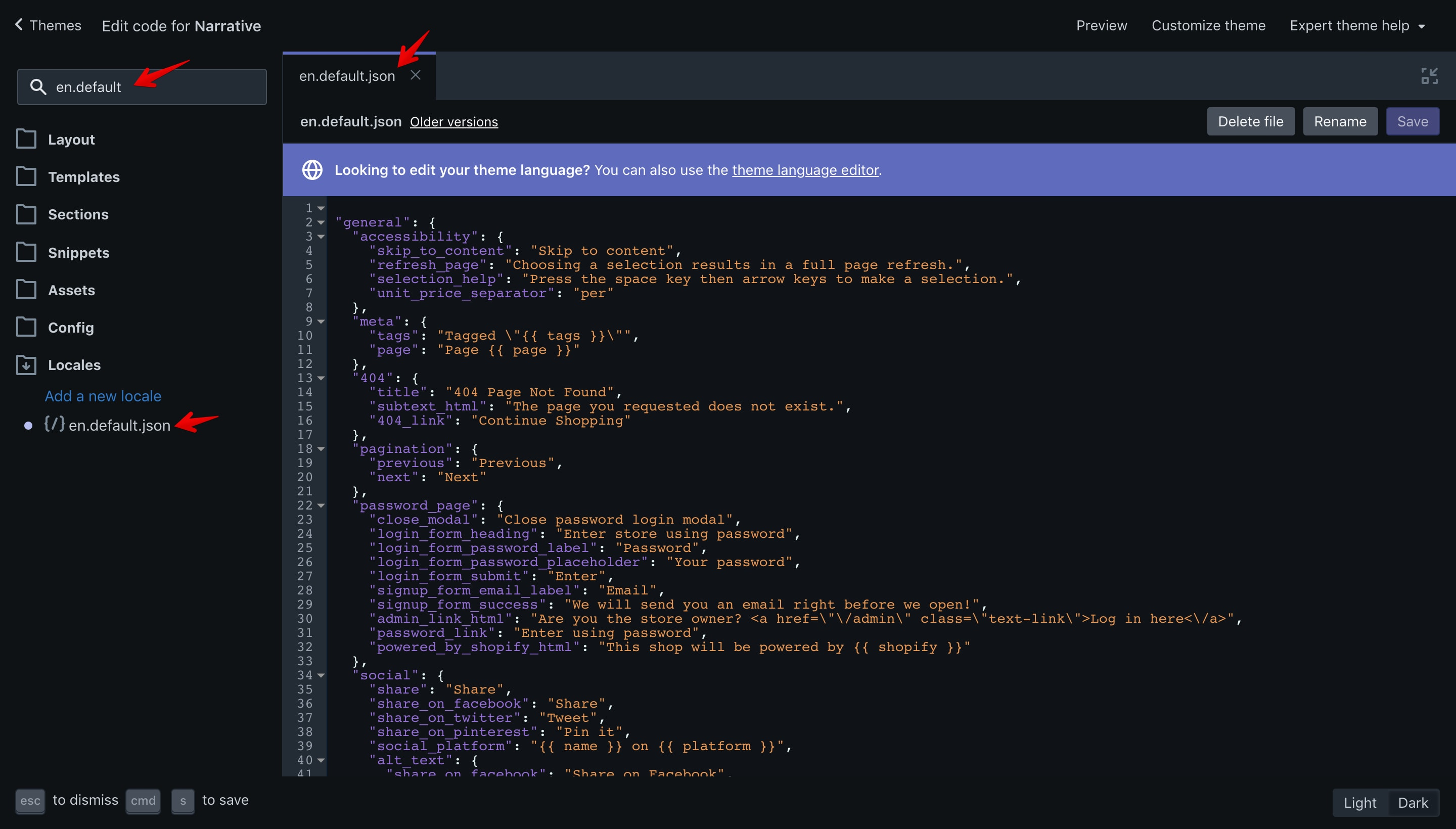 """Narrative theme """"en.default.json"""" file opened in the code editor."""