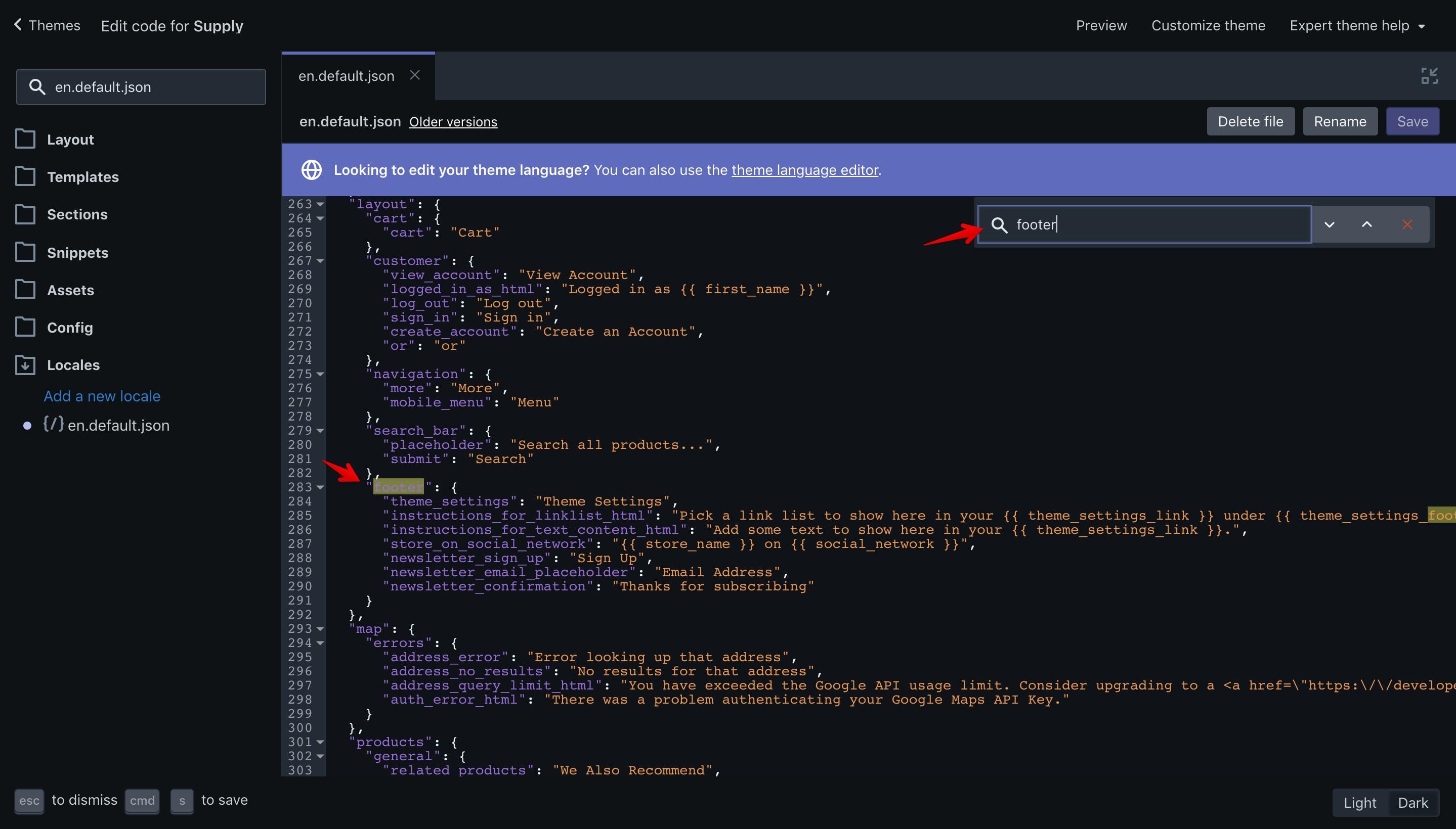 "Supply theme ""footer"" translation key in the ""en.default.json"" file."