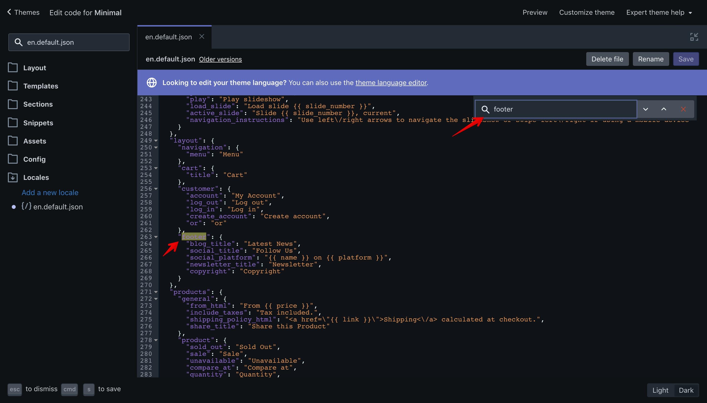 """Minimal theme """"footer"""" translation key in the """"en.default.json"""" file."""