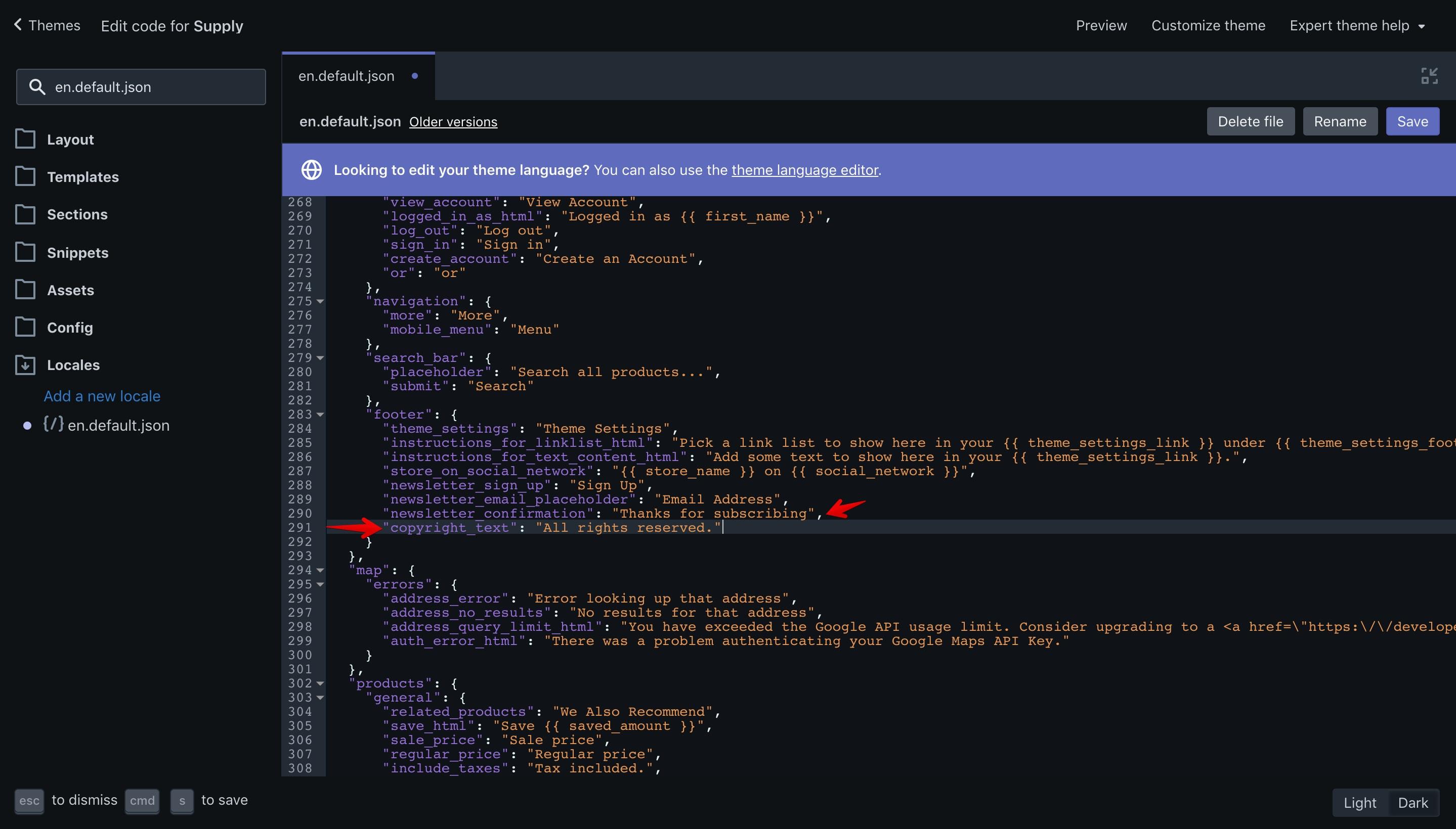 "Supply theme new translation key in the ""en.default.json"" file."