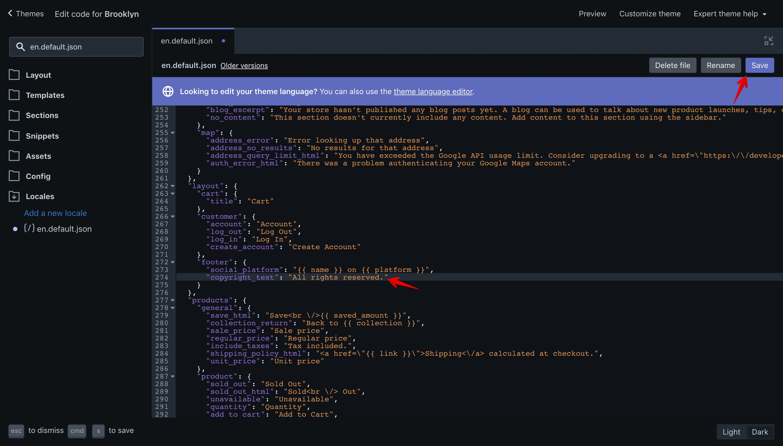 """Brooklyn theme new translation key in the """"en.default.json"""" file."""