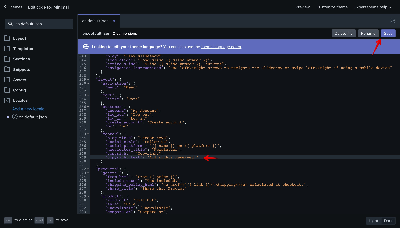 "Minimal theme new translation key in the ""en.default.json"" file."
