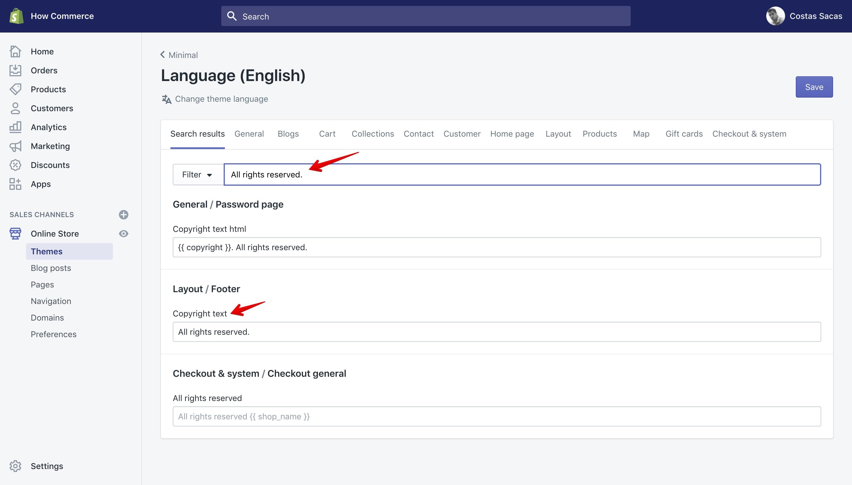"Minimal theme new copyright text in ""Language"" panel."