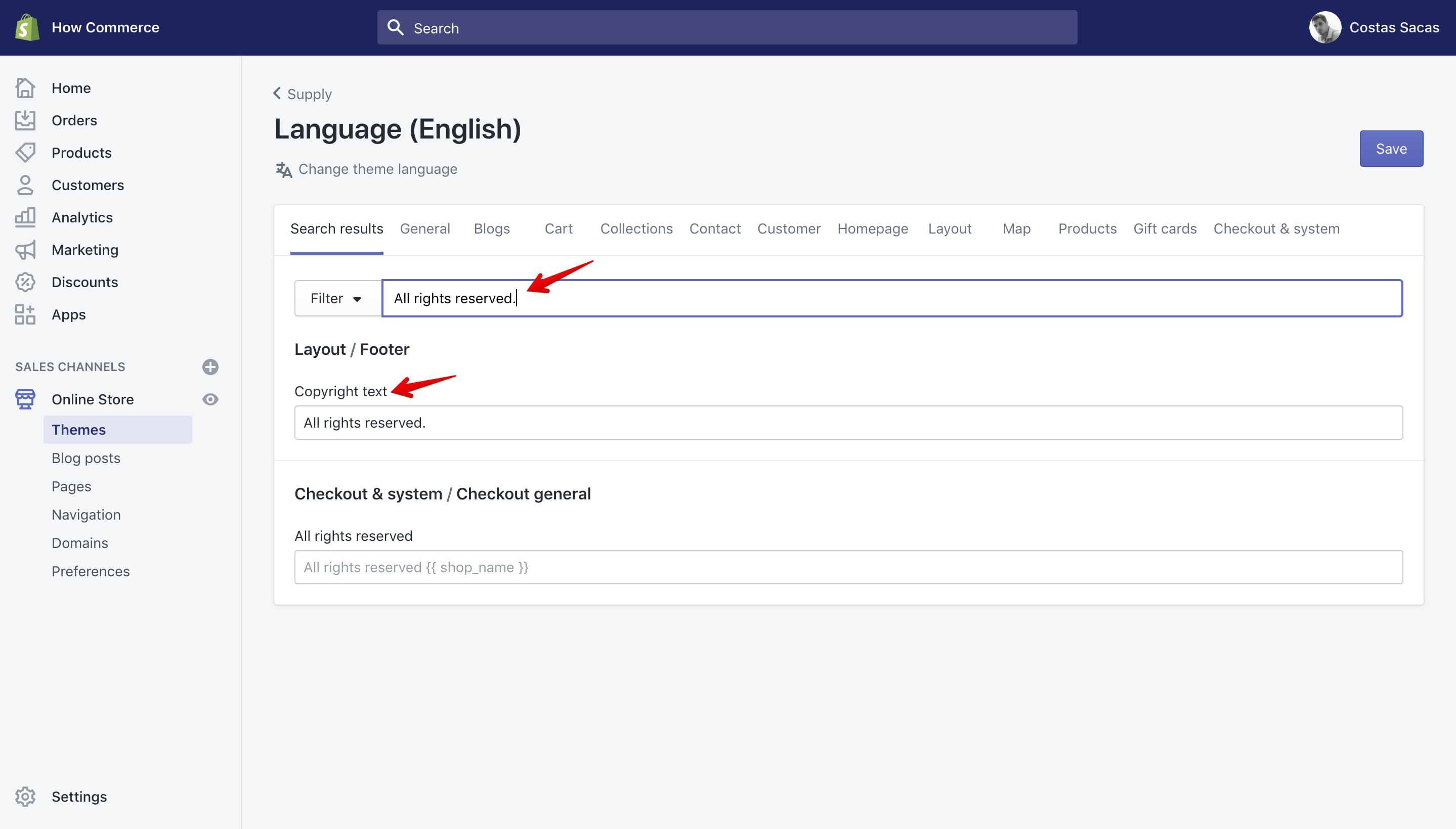 """Supply theme new copyright text in """"Language"""" panel."""
