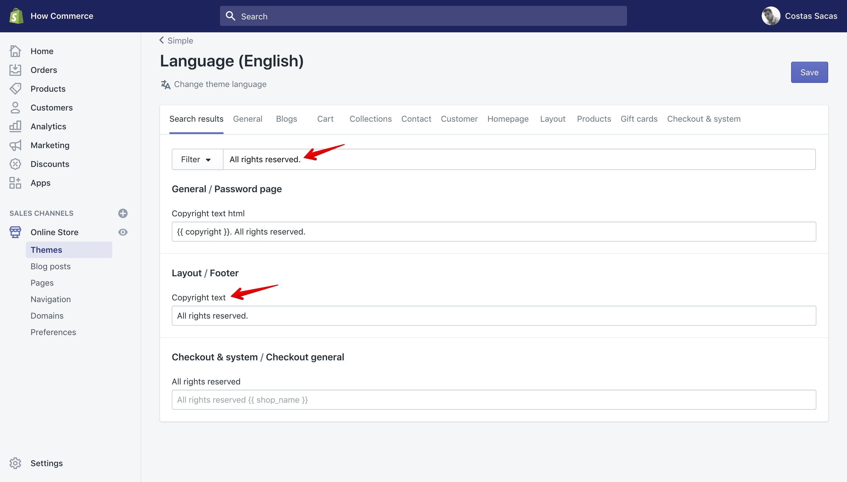 """Simple theme new copyright text in """"Language"""" panel."""