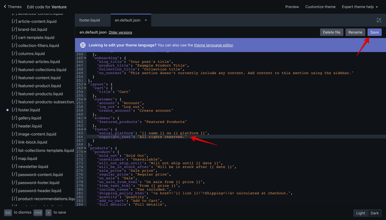 "Venture theme new translation key in the ""en.default.json"" file."