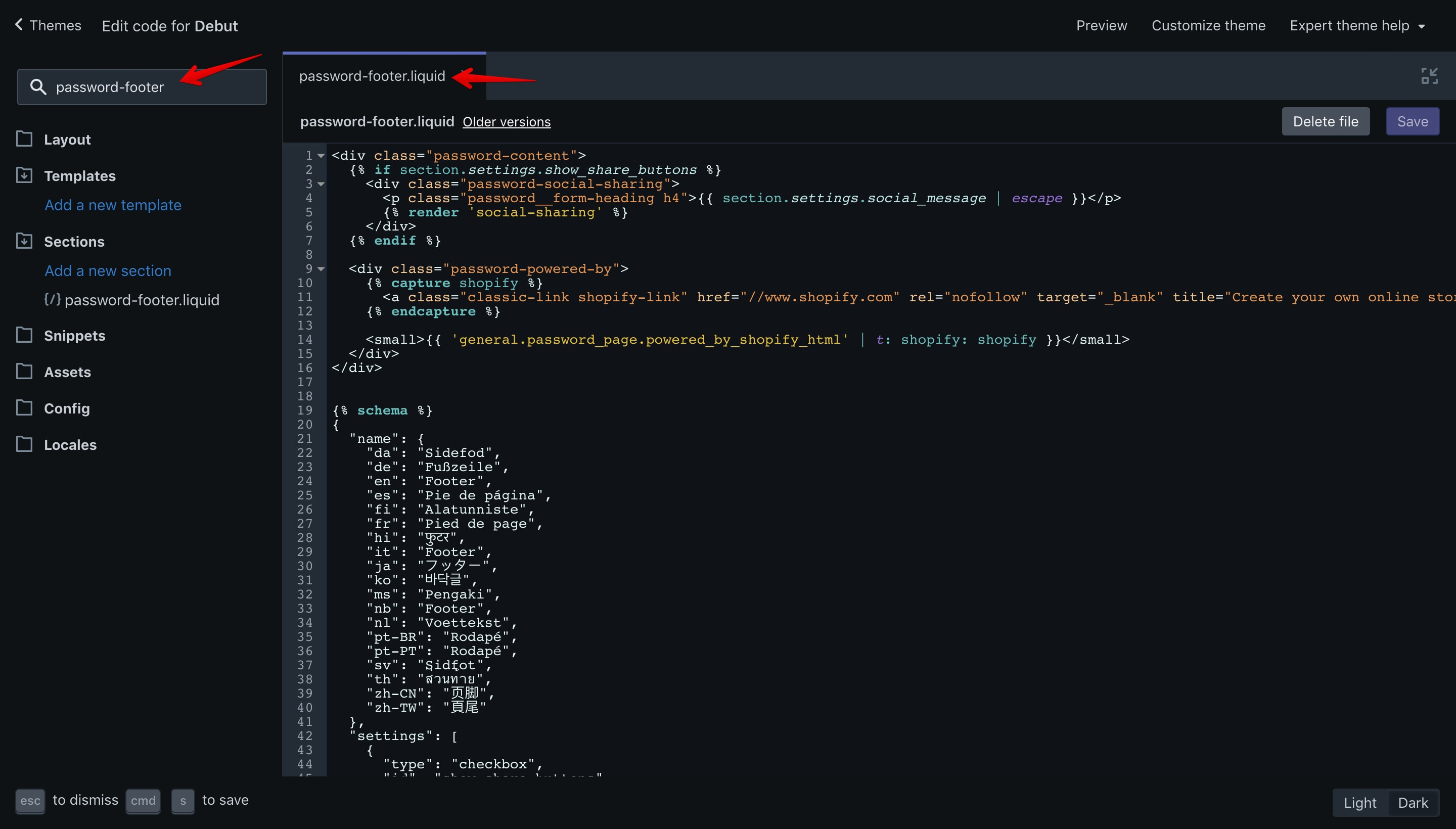 """Debut theme """"password-footer.liquid"""" file opened in the code editor."""
