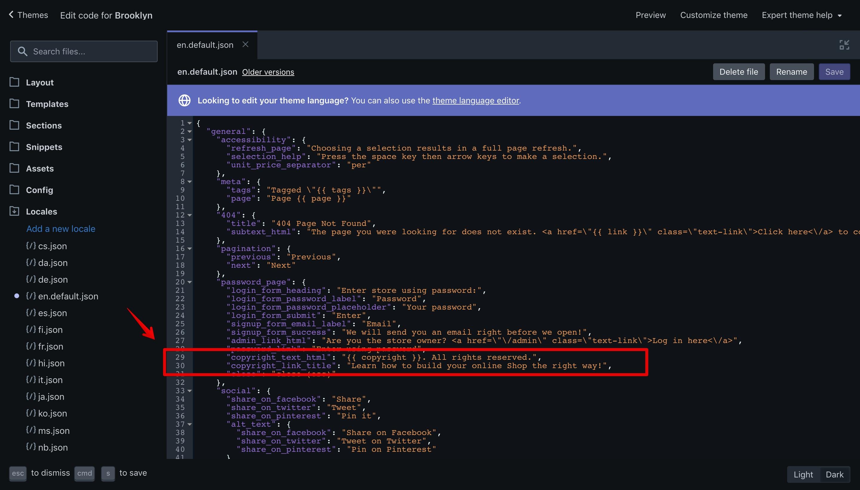 "Brooklyn theme ""en.default.json"" language file with the new translation keys."