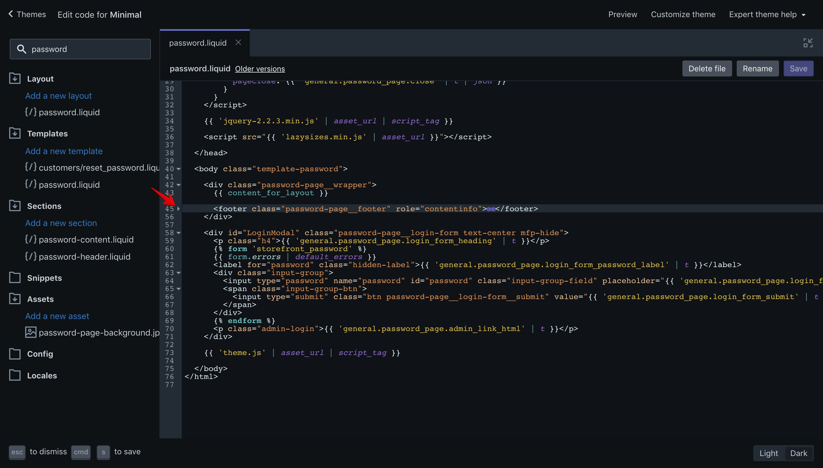 Minimal theme copyright code selection in the code editor.