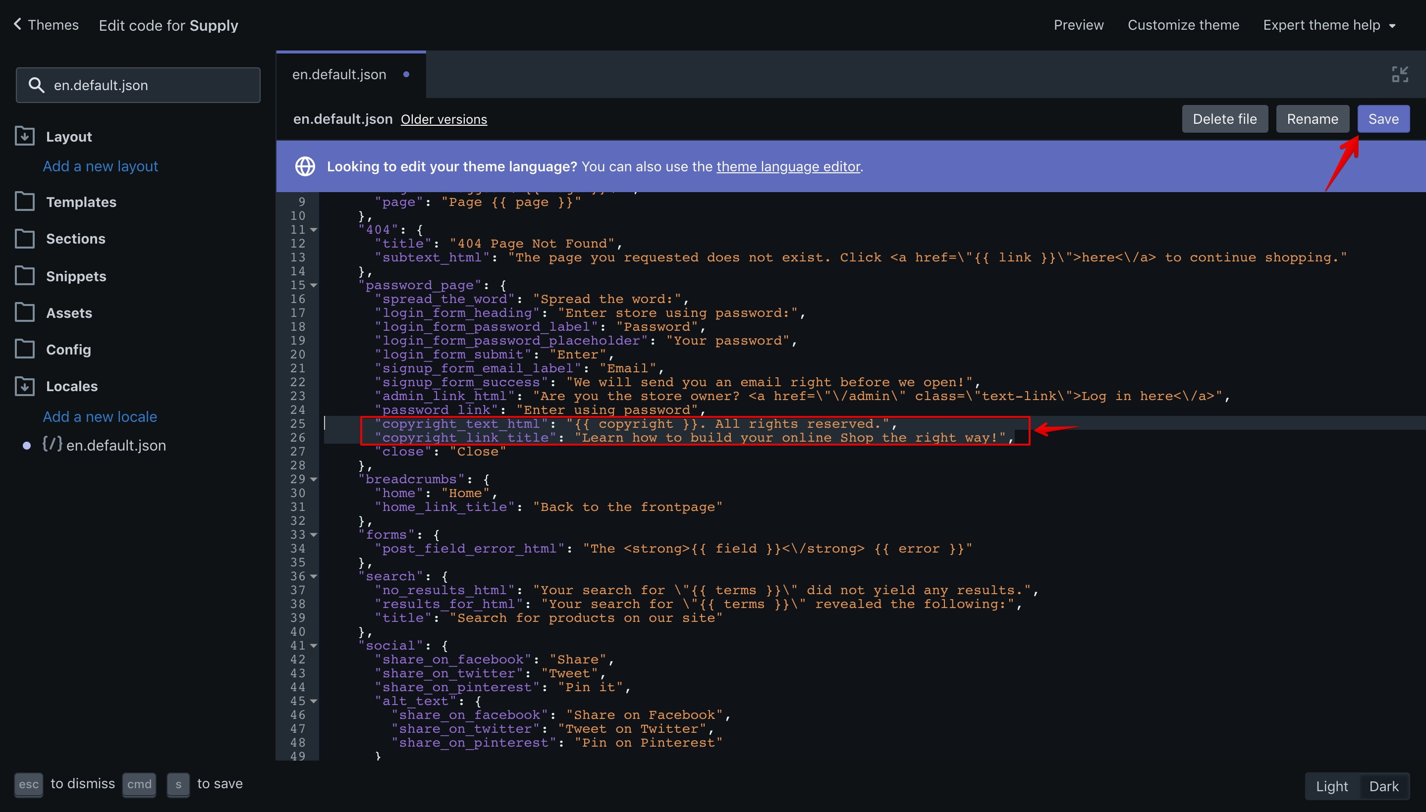 "Supply theme ""en.default.json"" language file with the new translation keys."