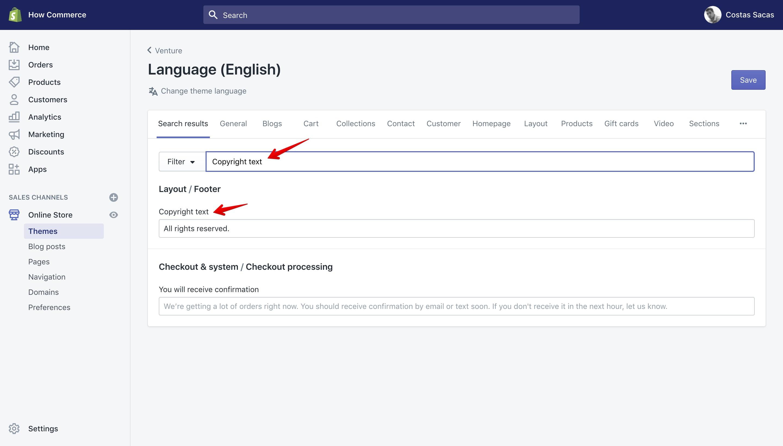 "Venture theme new copyright text in ""Language"" panel."