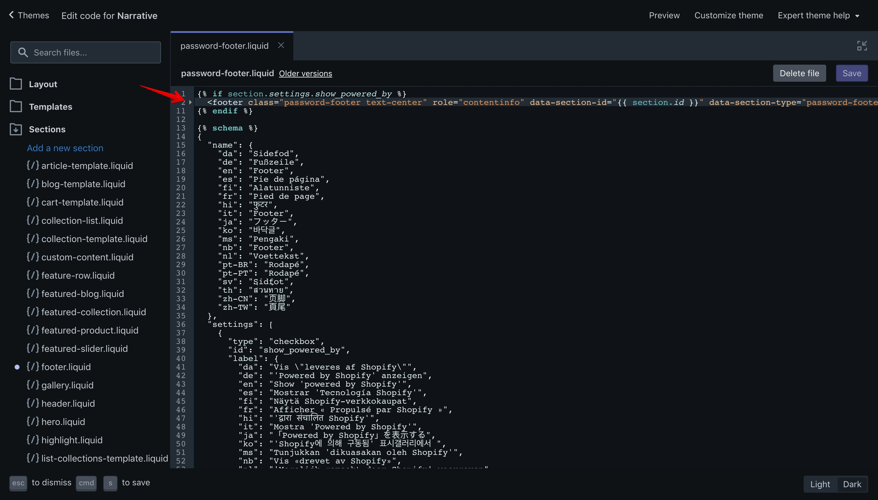 Narrative theme copyright code selection in the code editor.