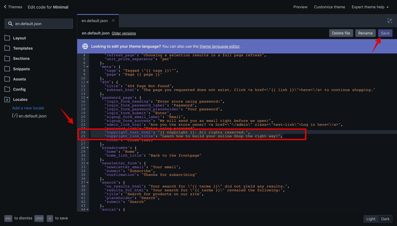 "Minimal theme ""en.default.json"" language file with the new translation keys."