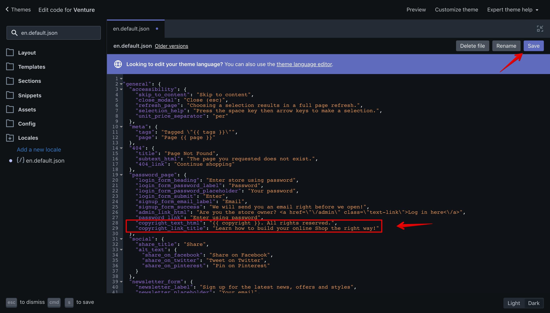 "Venture theme ""en.default.json"" language file with the new translation keys."
