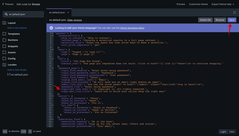 "Simple theme ""en.default.json"" language file with the new translation keys"
