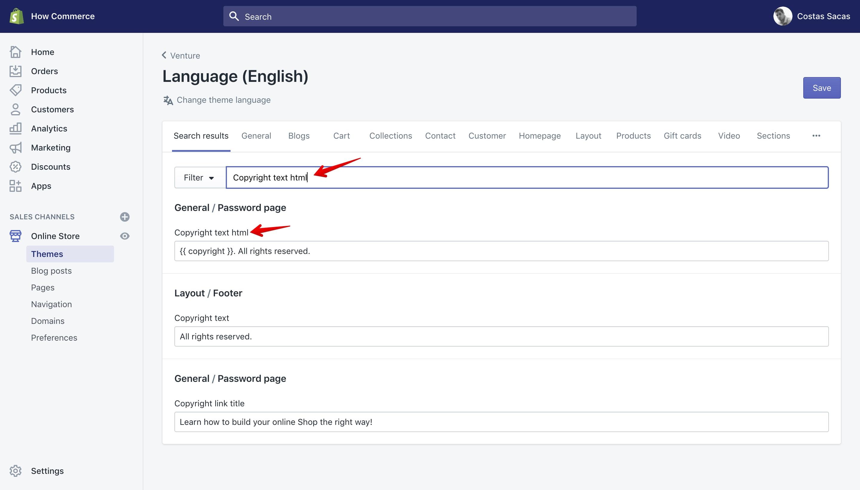 "Venture theme ""Copyright text html"" translation key in the ""Language"" panel."