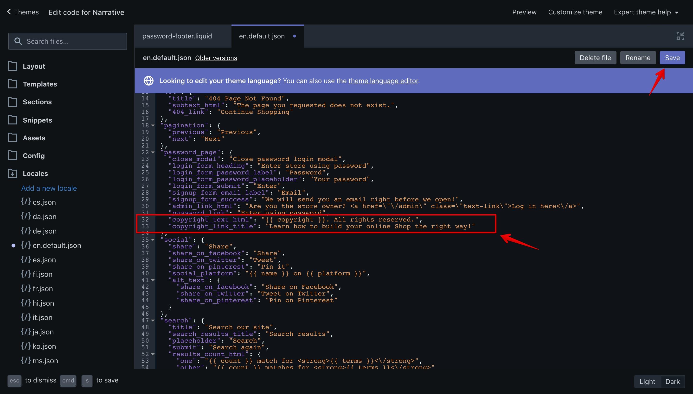 "Narrative theme ""en.default.json"" language file with the new translation keys."