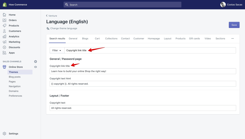 "Venture theme ""Copyright link title"" translation key in the ""Language"" panel."