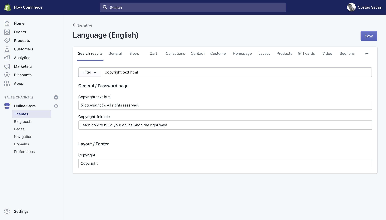 "Narrative theme ""Copyright text html"" translation key in the ""Language"" panel."