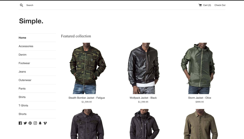 Shopify Simple theme screenshot.