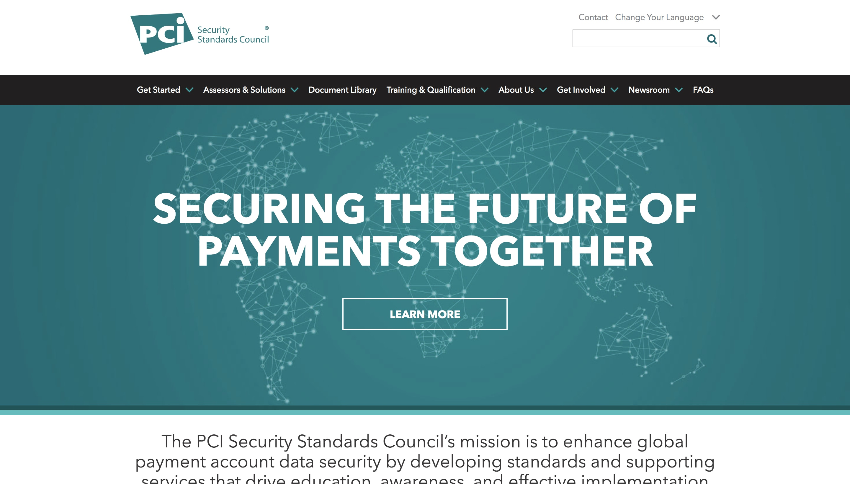 Screenshot of the Payment Card Industry Security Standards Council website.