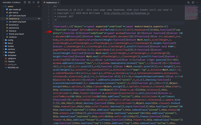 Headroom.js code.