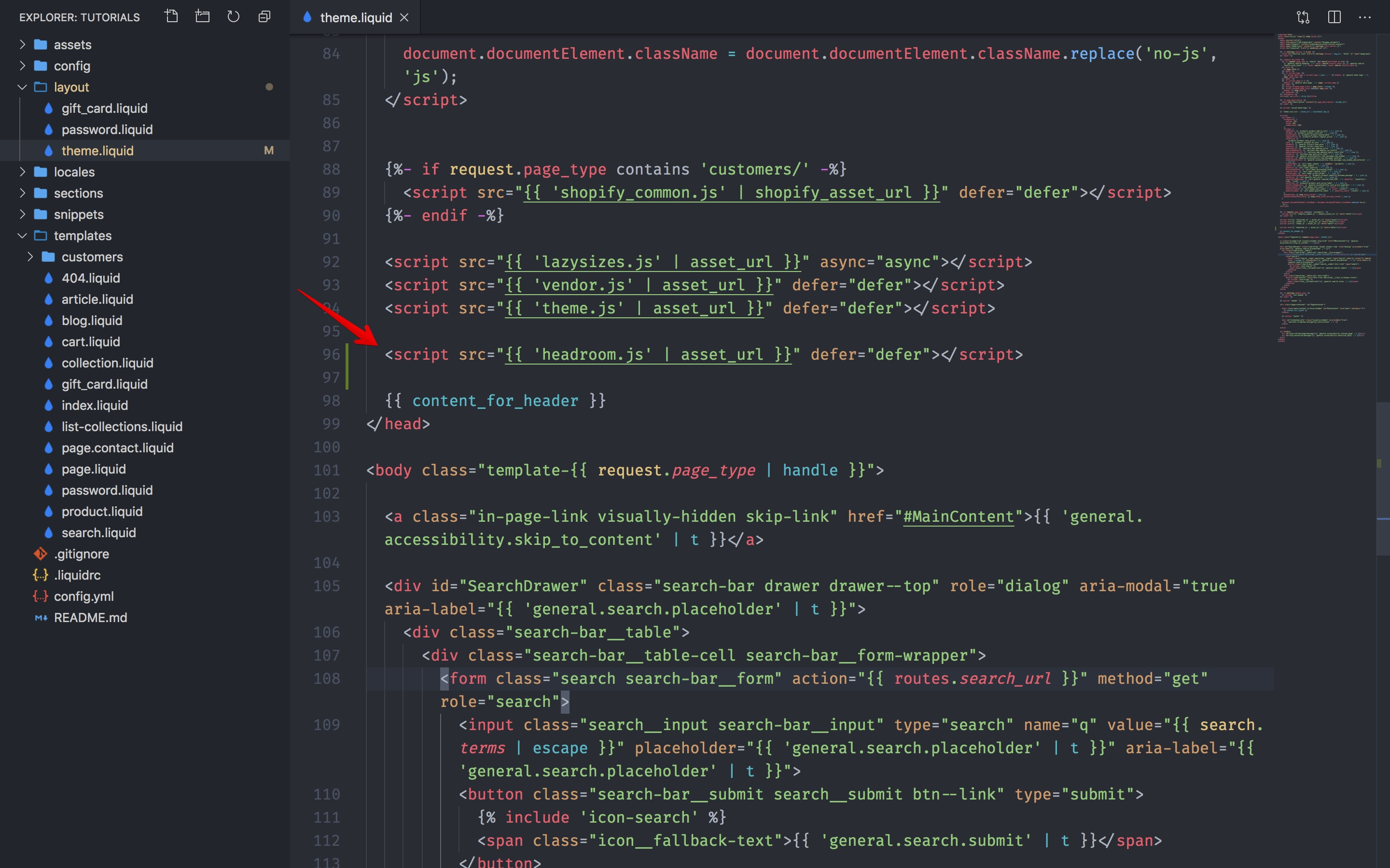 Headroom.js script added to the theme.liquid file.