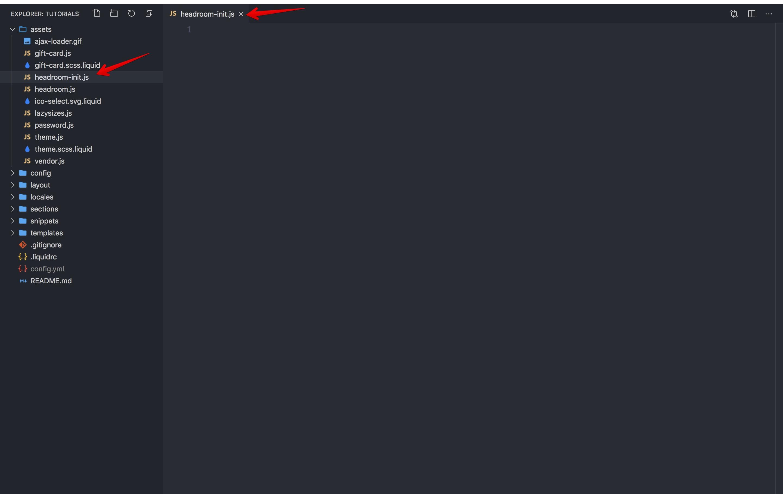 Headroom-init.js file creation.